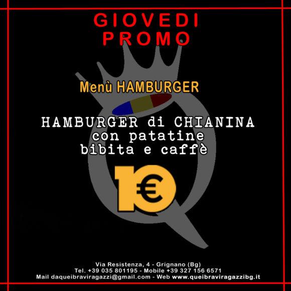 Menu del Giovedi - Hamburgher e patatine a 10€